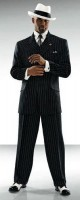 Black/White Pinstripe Gangster Style Tuxedo Package